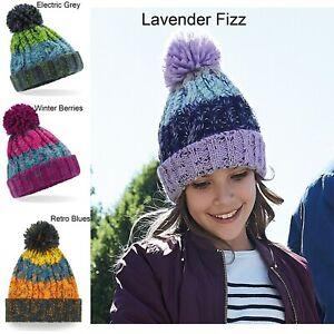 Beechfield Junior Corkscrew Pom Pom Beanie Thick Winter Knit Hat B486B Kids