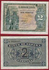 ESPAÑA 2 PESETAS año 1937. Serie A. Nº 3058227. Catedral de Burgos. SIN CIRCULAR