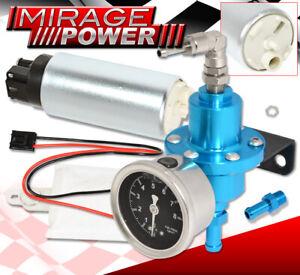 For Chevy Adjustable Fuel Pressure Regulator 0-140 Psi Blue Gauge+255Lph Pump