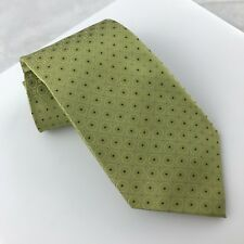 Calvin Klein Men's Silk Neck Tie in Olive Green with Circle/Square Pattern