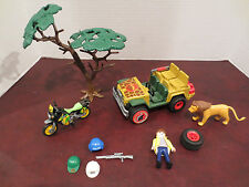 Playmobil Safari Jeep Motorcycle with Figure Lion & accesories Parts LOT