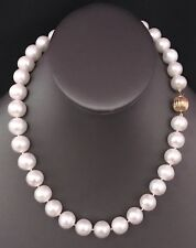 FRESHWATER PEARLS LARGE 12-11.5 mm 17.5 IN NECKLACE 14KT SOLID GOLD CLASP F6