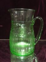 Rare LG. VTG. Green Depression Glass Pitcher