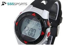 SSG ROSSO GRIGIO NERO esercizio PULSE Heart Monitor da polso Watch CALORIE COUNTER