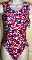 GK ELITE TANK LEOTARD ADULT X-LARGE RED BLUE STAR PRINT GYMNASTICS DANCE AXL NWT