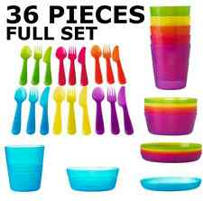 IKEA Children Bowls Plates Utensils Cups Tableware Multicolor Full Set KALAS NEW
