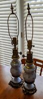 PAIR VTG BLUE PORCELAIN LAMPS WITH GOLD GILDING & ANTIQUE BRASS OR BRONZE BASE