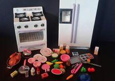 Kitchen Littles REFRIGERATOR Stove/Oven SOUNDS LIGHTS Barbie Sz FOOD PANS XTRAS!
