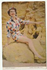 Vintage Swimsuit BELLES OF THE BEACH 1940s Photograph Postcard Colour Color '50s