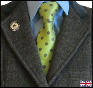 100% Silk Adult Show Tie. Green & Brown Spotted.