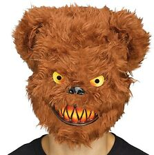Angry Killer Brown Teddy Bear Adult Half Mask Costume Accessory Animal Fun Fur