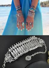 Luxury Women Boho Coin Turkish Festival Bangle Tribal Silver Statement Bracelets