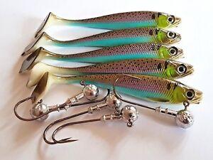 Drop shot lures 7 cm long, set of 5 and jig heads - perch, pike, zander fishing