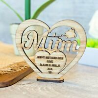 Personalised Mothers Day Gift for Mum Wooden Heart Plaque Freestanding Oak Gift