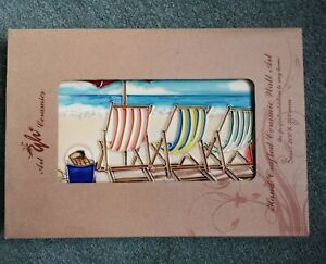 YH ART CERAMIC PICTURE BEACH SCENE PLAQUE.......NWB