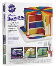 Square 8 inch Checkerboard 4 pc Cake Pan Set from Wilton 5745