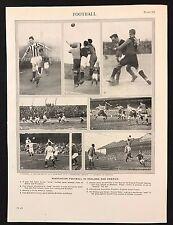 VINTAGE Stampa/Piastra 1929 Enciclopedia Britannica, calcio in Inghilterra & USA