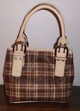TIGNANELLO Brown Plaid Cotton & Leather SATCHEL ~ Excellent Condition