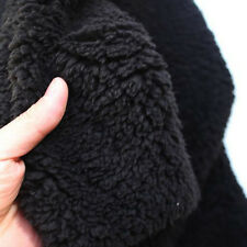 "Black sherpa fleece fabric berber fleece lamb fur fabric lining cloth 60"" BTY"