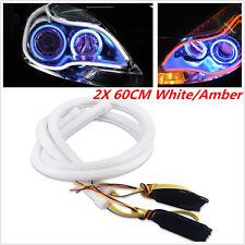 2x 60cm Switchback Headlight LED Strip DRL Daytime Light Soft Tube Amber+White