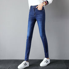 Women Lady Blue Denim Destroyed High Waist Slim Skinny Jeans Pencil Pants