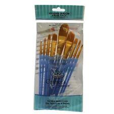 RCC-303 Artists paint brush Golden Taklon value pack 9pc Filbert / Oval wash Set