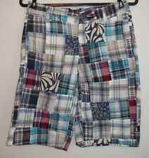 WOMENS MADRAS PLAID PATCHWORK LIGHTWEIGHT BERMUDA SHORTS (multicolor)