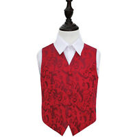 DQT Woven Floral Burgundy Page Boys Wedding Waistcoat 2-14 Years