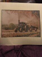 Large Art Print Vintage Farming Steam Engine Logging 11 X 14