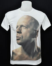 White crew t-shirt Bruce Willis actor rock cotton CL tee size L