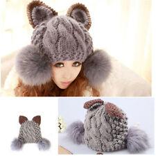 Fashion Women Devil Fur Cat Ear Horn Cap Warm Winter Ski Knit Wool Hat For Girl