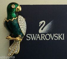 Signed SAL Swarovski America Limited Guilloche Parrot Brooch Pin