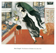 MODERN ART PRINT - Birthday by Marc Chagall 28x32 Offset Lithograph MOMA Poster