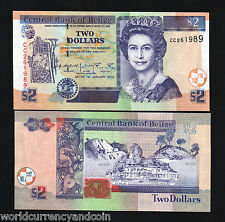BELIZE $2 P60 2002 QUEEN RUINS UNC CARIBBEAN GB UK CURRENCY MONEY BILL BANK NOTE
