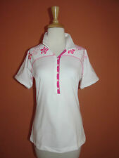 New Adidas ClimaCool Womens Size L White & PinkTattoo Print Golf Polo Shirt