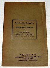 1943 Philippine Inaugural Address of JOSE P. LAUREL WW2 Pamphlet