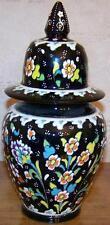 """10"""" Handmade Turkish Iznik Green Raised Daisy & Carnation Ceramic Jar Urn"""