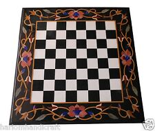 "30"" Black Marble Side Coffee Chess Table Top Hakik Marquetry Inlay Decor H1545"