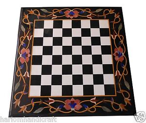 "30"" Black Marble Coffee Chess Table Top Hakik Marquetry Floral Inlay Decor H1545"