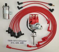 CHRYSLER 413-426-440 Red SMALL Cap HEI Distributor +Chrome Coil+Spark Plug Wires