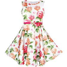 Sunny Fashion Girls Dress Navy Blue Flower Belt Vintage Party Sundress Size 6-14 8 Multi-color