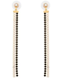 Swarovski Gold Plated Black and White Crystal Dangle Earrings 5403217 MSRP $129