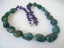 RARE 465 CTS PURPLE AMETHYST & MOSS AGATE BEADS