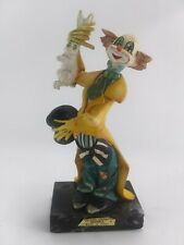 Vintage Fontanini Depose 942 Clown Magician w Rabbit on Carrara Marble Italy