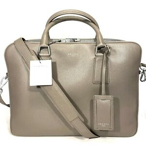 SANDRO Paris Downtown Leather Zippered Shoulder Briefcase Taupe Gray (MSRP $580)