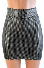 SMALL Starry Silver Metallic Spandex Stretchy Bodycon Mini Skirt Ready To Ship!