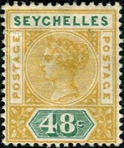 Seychelles 1890-92 QV  48c Ochre & Green   Die I  SG.7 Mint (Hinged)    Cat:£26