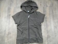 BENCH schöne Kapuzensweatjacke mit kurzen Armen khaki-taupe Gr. M  RC1017