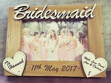 Personalised engraved photo frame bridesmaid/maid of honour wedding gift favour