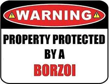 Warning Property Protected by a Borzoi 9 inch x 11.5 inch Laminated Dog Sign